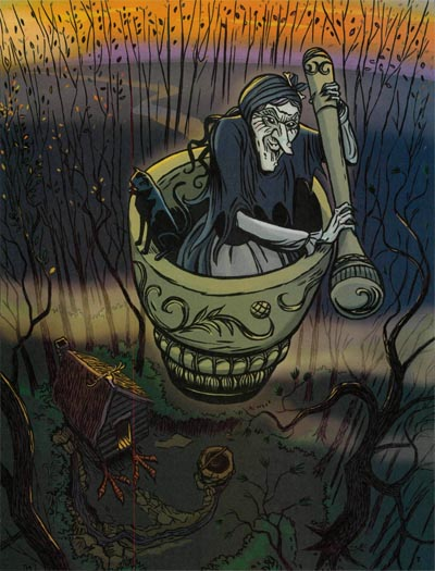 Baba Yaga, illustrated by Chuck Gonzales, for the January 2014 issue of Jack and Jill Magazine.