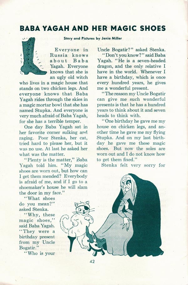 The first page of 'Baba Yagah and Her Magic Shoes,' page 1, from the June 1943 issue of Jack and Jill Magazine.